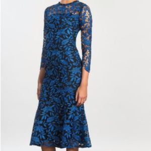 NEW Shoshanna 3/4 Sleeve Lace Two Tone Midi Dress